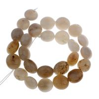 Natürliche graue Achat Perlen, Grauer Achat, flache Runde, 14x14x9mm-16x16x11mm, Bohrung:ca. 1mm, ca. 26PCs/Strang, verkauft per ca. 15.5 ZollInch Strang