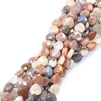 Mondstein Perlen, Herz, natürlich, verschiedene Größen vorhanden & facettierte, Bohrung:ca. 0.5-1mm, verkauft per ca. 16 ZollInch Strang