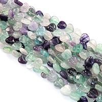 Fluorit Perlen, Herz, natürlich, verschiedene Größen vorhanden, Bohrung:ca. 0.5-1mm, verkauft per ca. 16 ZollInch Strang