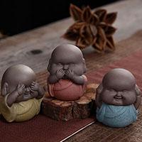 Tee Haustierdekoration, Porzellan, Buddhistischer Mönch, verschiedene Stile für Wahl, 65x40mm, verkauft von PC