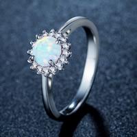 Messing Fingerring, mit Weßer Opal, Platinfarbe platiniert, olika innerdiameter, för val & für Frau & mit Strass, frei von Nickel, Blei & Kadmium, 10-15mm, verkauft von PC