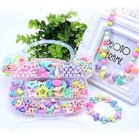 Kinder-DIY Saiten-Perlen-Set, Acryl, mit Kunststoff Kasten, Bär, für Kinder & verschiedene Stile für Wahl, 197x120x25mm, verkauft von Box