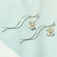 925 Sterling Silber Tropfen Ohrring, Blume, plattiert, zweifarbig, 7x7mm, verkauft von Paar