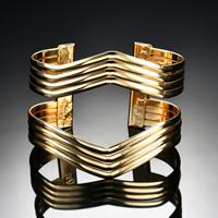 Eisen Armreif, goldfarben plattiert, für Frau, frei von Blei & Kadmium, 70x57mm, Innendurchmesser:ca. 70mm, Länge:ca. 8.5 ZollInch, verkauft von PC