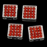 Strass Zinklegierung Perlen, Rechteck, silberfarben plattiert, mit Strass, frei von Blei & Kadmium, 10x5mm, Bohrung:ca. 1.5mm, 5PCs/Tasche, verkauft von Tasche