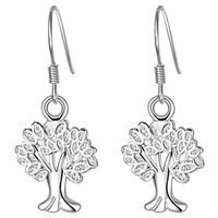 Baum des Lebens Schmuck Ohrringe, Messing, silberfarben plattiert, für Frau & hohl, frei von Nickel, Blei & Kadmium, 12x30mm, verkauft von Paar
