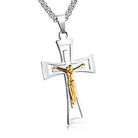 Edelstahl-Kreuz- Anhänger, Edelstahl, Jesus Kreuz, plattiert, für den Menschen & zweifarbig, 54x30mm, Bohrung:ca. 3-5mm, verkauft von PC