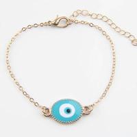 Evil Eye Schmuck Armband, Zinklegierung, mit Messingkette, mit Verlängerungskettchen von 5cm, blöser Blick, goldfarben plattiert, Oval-Kette & für Frau & Emaille, frei von Nickel, Blei & Kadmium, 190mm, verkauft per ca. 7.5 ZollInch Strang