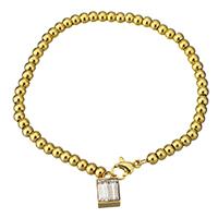 Kristall Armbänder, Edelstahl, mit Kristall, Quadrat, goldfarben plattiert, Armband  Bettelarmband & Kugelkette & für Frau & facettierte, 7x11mm,3x4mm, verkauft per ca. 7 ZollInch Strang