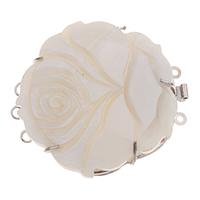Zink-Legierung Bajonettverschluss, Zinklegierung, mit Weiße Muschel, Blume, Platinfarbe platiniert, 3-Strang, frei von Blei & Kadmium, 48x42x10mm, Bohrung:ca. 1.5-2mm, verkauft von PC