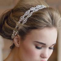 Braut Haarband, Satinband, für Braut & mit Strass, weiß, 300x15mm, verkauft per ca. 14 ZollInch Strang