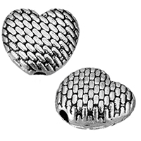 Zinklegierung Herz Perlen, antik silberfarben plattiert, frei von Nickel, Blei & Kadmium, 9x8x4mm, Bohrung:ca. 1.5mm, 1000PCs/Menge, verkauft von Menge