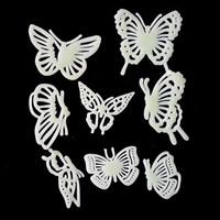 Kunststoff Leuchtende Aufkleber, Schmetterling, Klebstoff & glänzend, 35-45mm, 40-70mm, 8PCs/Tasche, verkauft von Tasche