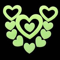 Kunststoff Leuchtende Aufkleber, Herz, Klebstoff & glänzend, 50-100mm, 15PCs/Tasche, verkauft von Tasche
