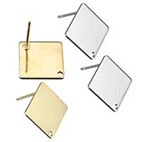 Zinklegierung Ohrring-Bolzen -Komponente, Rhombus, plattiert, mit Schleife, keine, frei von Nickel, Blei & Kadmium, 16x16mm, 0.7mm, Bohrung:ca. 1.3mm, 300PCs/Menge, verkauft von Menge