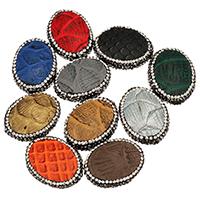 Strass Zinklegierung Perlen, Schlangenleder, mit Ton, flachoval, plattiert, keine, 24x30x12mm, Bohrung:ca. 2mm, 10PCs/Menge, verkauft von Menge