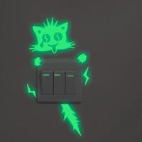 Lichtschalter Aufkleber, PVC Kunststoff, Katze, Klebstoff & glänzend, 110x215mm, verkauft von PC