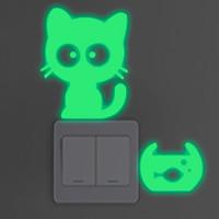 Lichtschalter Aufkleber, PVC Kunststoff, Katze, Klebstoff & glänzend, 150x170mm, verkauft von PC