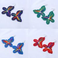 Holz Ohrring, mit Nylonschnur & Zinklegierung, Eisen Haken, Schmetterling, gefärbt & für Frau, keine, 80x70mm, verkauft von Paar