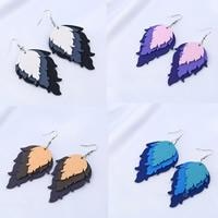 Holz Ohrring, mit Nylonschnur & Zinklegierung, Eisen Haken, Blatt, gefärbt & für Frau, keine, 64x45mm, verkauft von Paar