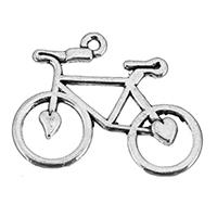 Fahrzeug Zinklegierung Anhänger, Fahrrad, antik silberfarben plattiert, frei von Nickel, Blei & Kadmium, 30x24x1.50mm, Bohrung:ca. 2mm, 250PCs/Tasche, verkauft von Tasche