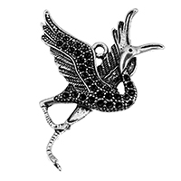 Zink-Legierung Cabochon Weissgold, Zinklegierung, Kran, antik silberfarben plattiert, frei von Nickel, Blei & Kadmium, 40x54x5mm, Bohrung:ca. 2.5mm, Innendurchmesser:ca. 1.5mm, 100PCs/Tasche, verkauft von Tasche