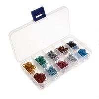 Aluminium geöffneter Biegering, mit Kunststoff Kasten, Rechteck, Elektrophorese, farbenfroh, 1x6mm, ca. 1000PCs/Box, verkauft von Box