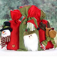 Weihnachtsgeschenkbeutel, Baumwollgewebe, mit Plüsch & Satinband, Weihnachtsschmuck & verschiedene Stile für Wahl, 270x200mm, verkauft von PC