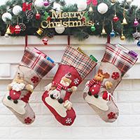 Weihnachtsferien Strümpfe Geschenk Socken, Nichtgewebte Stoffe, mit Baumwollgewebe & Plüsch & Satinband, Weihnachtssocke, Weihnachtsschmuck & verschiedene Stile für Wahl, 225x460x265mm, verkauft von PC