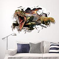3D Wandaufkleber, PVC Kunststoff, Dinosaurier, Tier Design & Klebstoff & 3D-Effekt & wasserdicht, 900x600mm, verkauft von setzen