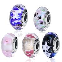 kommen on® Schmuck Beads, Glas, Rondell, verschiedene Muster für Wahl & Sterling Silber single-Core ohne troll, 9x15mm, Bohrung:ca. 4.5-5mm, verkauft von PC
