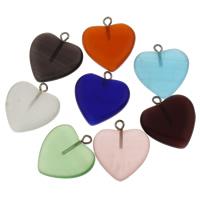 Katzenauge Anhänger, mit Zinklegierung Stiftöse, Herz, gemischte Farben, 19x21.50x4mm, Bohrung:ca. 2mm, verkauft von PC