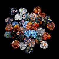 Millefiori Lampwork Cabochon, Herz, handgemacht, flache Rückseite, gemischte Farben, 8x8x2.50mm, 100PCs/Tasche, verkauft von Tasche