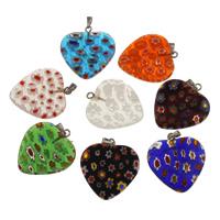 Millefiori Lampwork Anhänger, mit Zinklegierung Stiftöse, Herz, handgemacht, gemischte Farben, 25x27.50x4mm, Bohrung:ca. 2.5mm, verkauft von PC