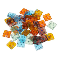 Millefiori Lampwork Cabochon, Quadrat, handgemacht, flache Rückseite, gemischte Farben, 10x2.5mm, verkauft von PC