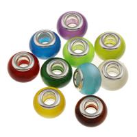 Lampwork Perlen European Stil, rund, handgemacht, Messing-Dual-Core ohne troll, gemischte Farben, 13.5x9mm, Bohrung:ca. 5mm, 100PCs/Tasche, verkauft von Tasche