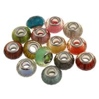 Lampwork Perlen European Stil, flachoval, Messing-Dual-Core ohne troll, gemischte Farben, 14.5x9mm, Bohrung:ca. 5mm, verkauft von PC