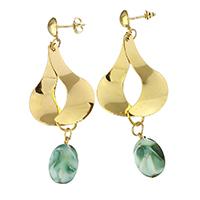 Porzellan-Ohrringe, Edelstahl, mit Porzellan, goldfarben plattiert, für Frau, 71mm, 11x19mm, verkauft von Paar