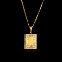 Parfüm Medaillon Halskette, Zinklegierung, goldfarben plattiert, Bar-Kette & für Frau, frei von Blei & Kadmium, 36x23mm, verkauft per ca. 16.5 ZollInch Strang