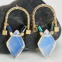 Opal Ohrringe, Zinklegierung, mit Hämatit & Opal, Edelstahl Stecker, KC goldfarben plattiert, frei von Blei & Kadmium, 37mm, verkauft von Paar