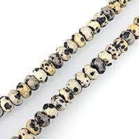 Dalmatinische Perlen, Dalmatiner, Rondell, facettierte, 5x8mm, Bohrung:ca. 1mm, ca. 75PCs/Strang, verkauft per ca. 15 ZollInch Strang