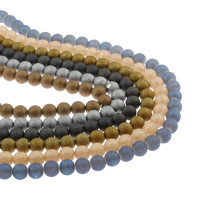 Kristall-Perlen, Kristall, rund, plattiert, satiniert, mehrere Farben vorhanden, 10mm, Bohrung:ca. 1mm, ca. 36PCs/Strang, verkauft per ca. 15.5 ZollInch Strang
