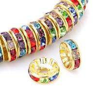 Messing Zwischenperlen, Kreisring, goldfarben plattiert, mit Strass, 8mm, Bohrung:ca. 2mm, 100PCs/Tasche, verkauft von Tasche