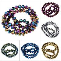 Kristall-Perlen, Kristall, plattiert, verschiedene Größen vorhanden & facettierte, mehrere Farben vorhanden, Bohrung:ca. 1mm, Länge:ca. 15 ZollInch, verkauft von Tasche