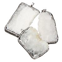 Eis-Quarz-Achat-Anhänger, Eisquarz Achat, mit Ton & Messing, silberfarben plattiert, natürliche & druzy Stil & gemischt, 31-36x5-61x7-9.5mm, Bohrung:ca. 5x7mm, verkauft von PC