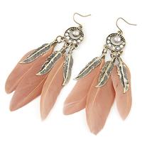 Mode-Feder-Ohrring, Zinklegierung, mit Feder, Federn, antike Bronzefarbe plattiert, Rosa, frei von Blei & Kadmium, 90x16mm, verkauft von Paar