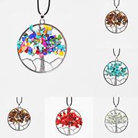 Baum des Lebens-Halskette, Edelstein, mit Gummiband & Zinklegierung, Platinfarbe platiniert, verschiedenen Materialien für die Wahl & unisex, 58mm, verkauft per ca. 19.5 ZollInch Strang