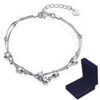 comeon® Schmuck Armband, 925 Sterling Silber, mit Verlängerungskettchen von 2lnch, Mit Verpackungskasten & Kastenkette & 2 strängig, verkauft per ca. 7.4 ZollInch Strang
