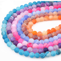 Natürliche Effloresce Achat Perlen, Auswitterung Achat, rund, verschiedene Größen vorhanden, keine, Bohrung:ca. 1mm, verkauft per ca. 15.5 ZollInch Strang