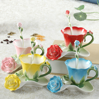 Porzellan, Löffel & Teetasse, Rose, keine, 160x140mm, 85x75mm, 140mm, verkauft von setzen